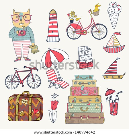 Travel concept set in vector. Cartoon hipster cat with bicycle, dog, ice-cream, sail boat, cases, chocolate, tulip and cocktails. Cartoon funny set - stock vector