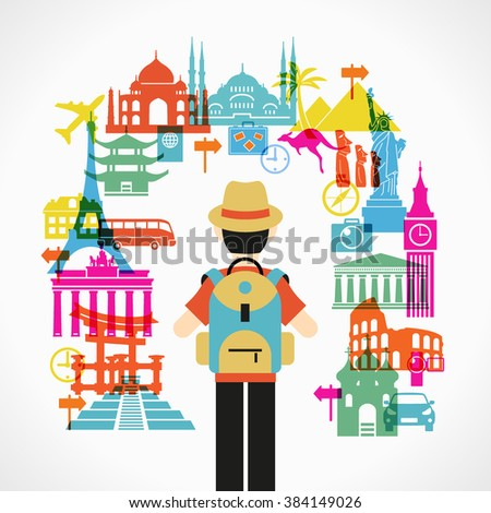 Travel concept. Tourist surrounded icons landmarks File is saved in 10 EPS version. - stock vector