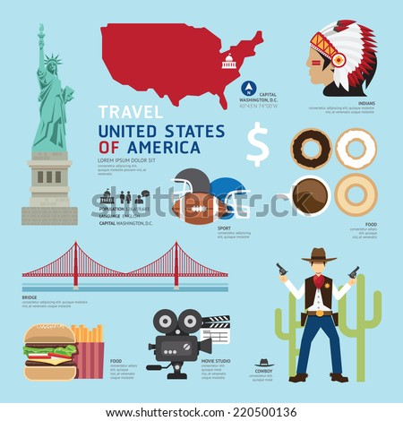 Travel Concept USA Landmark Flat Icons Design .Vector Illustration - stock vector