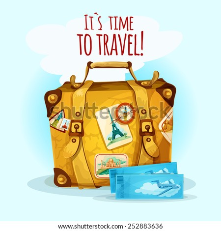Travel concept with suitcase baggage and tourist stickers vector illustration - stock vector