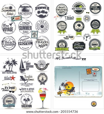 Travel design collection - stock vector