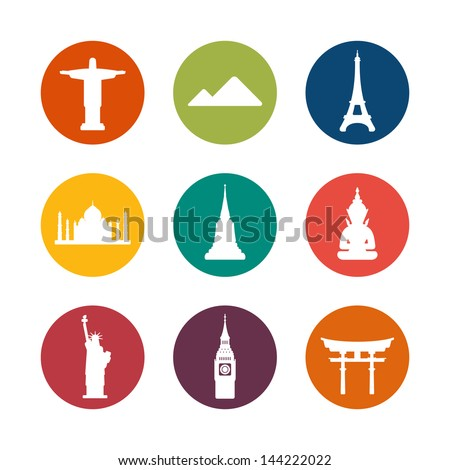 Travel destinations icons - stock vector