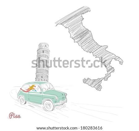 Travel Destinations- Pisa, Italy - stock vector