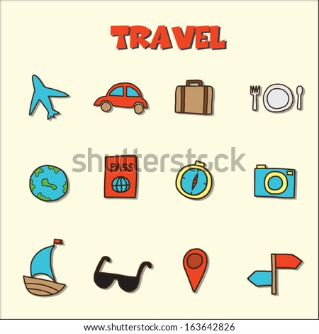 travel doodle icons, vector hand drawing style - stock vector