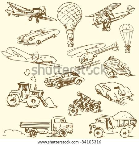 travel doodles - hand drawn retro set - stock vector