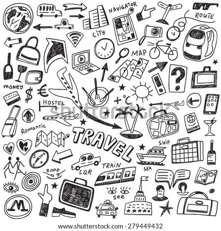 travel doodles set  - stock vector