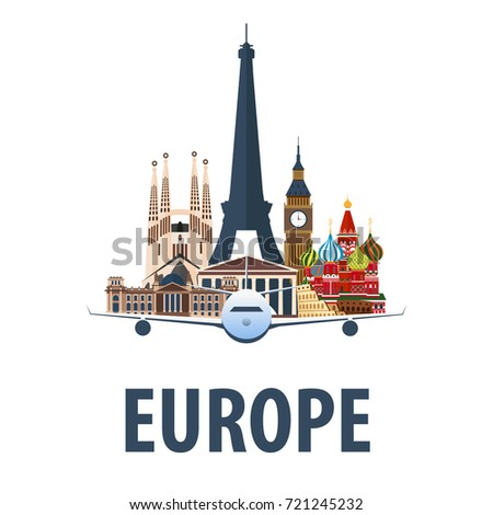 Travel Poster Discover Europe Vacation Trip Stock Vector - Travel to europe