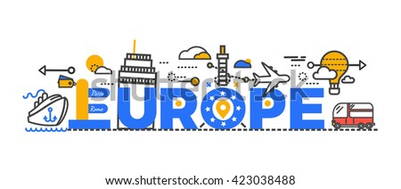 Travel Europe Word Text Creative Design Journey And Monument Famous Trip Airplane