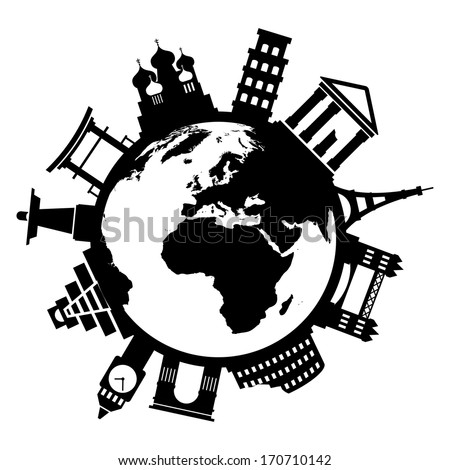 Travel famous monuments around world on white background - stock vector