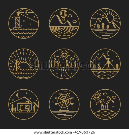 Travel flat line art illustration set of 9 logotypes - stock vector