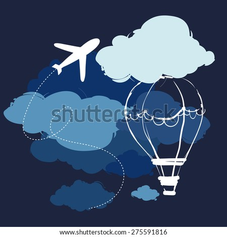 Travel. Flying on a plane and hot air balloon against the night sky - stock vector