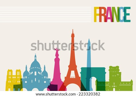 Travel France famous landmarks skyline multicolored design background. Transparency vector organized in layers for easy create your own website, brochure or marketing campaign. - stock vector