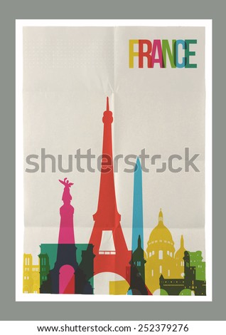 Travel France famous landmarks skyline on vintage paper sheet poster design background. Vector organized in layers for easy create your own postcard, brochure or marketing campaign. - stock vector