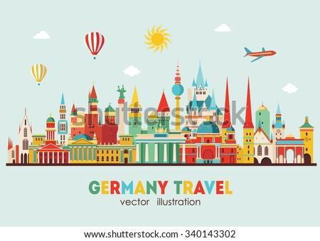 Travel Germany famous landmarks skyline. Vector illustration - stock vector