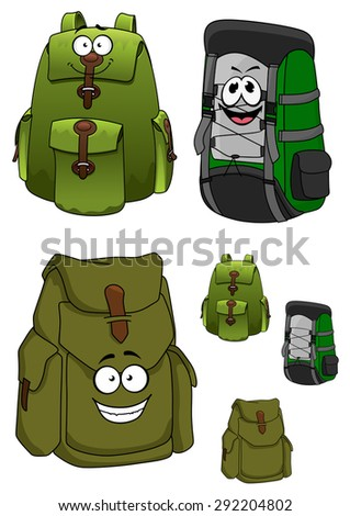 Travel green backpacks cartoon characters with many pockets, cord lacing and happy faces for traveling or hiking design