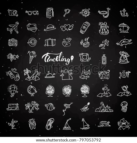 Travel hand draw chalk icons. Icon lined cartoon collection about adventure, outdoor activities, beach, summer, travelling, get a vacation and extremal sport. Traveling icon set on black board