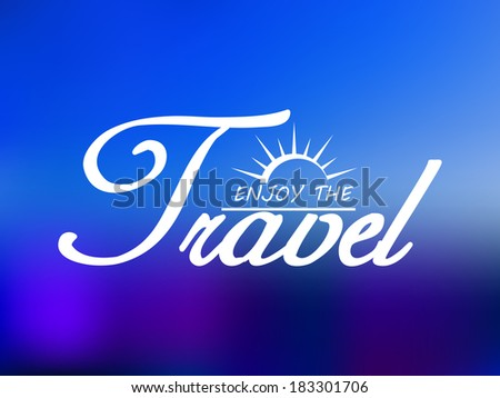 Travel header with shining sun on blue sea background for tourism logo or journey template - stock vector