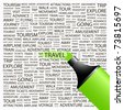 TRAVEL. Highlighter over background with different association terms. Vector illustration. - stock photo