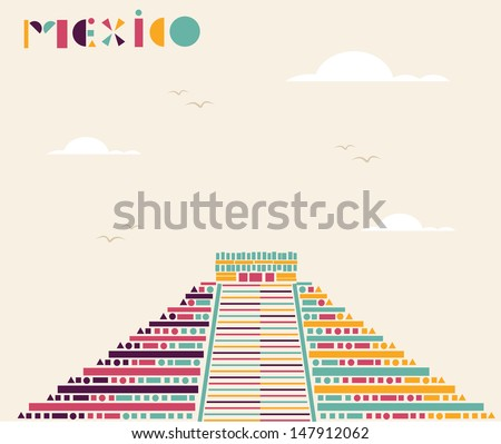 Travel historic Mexico abstract concept made with geometric figures. Vector file layered for easy manipulation and custom coloring. - stock vector