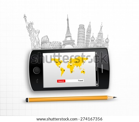 Travel Holiday smart phone concept design in vector format - stock vector