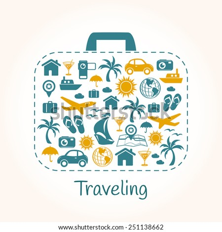 Travel holiday suitcase - stock vector