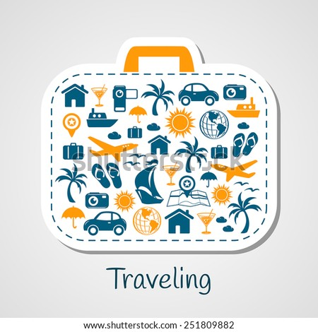 Travel holiday suitcase paper cut - stock vector
