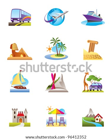 Travel, holidays and vacation icons set - vector illustration - stock vector