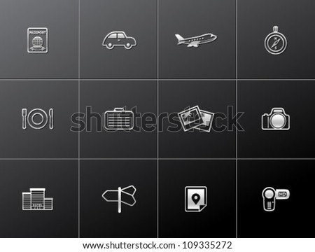 Travel icon series in metallic style - stock vector