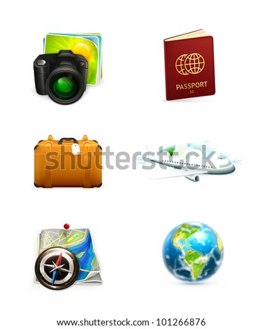 Travel icon set - stock vector