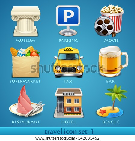 Travel icon set-1 - stock vector