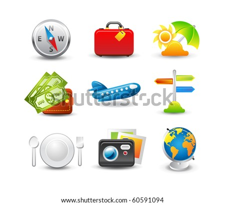 Travel icon set. Easy to edit - stock vector