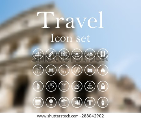 Travel icon set. EPS 10 vector illustration with mesh and without transparency. - stock vector