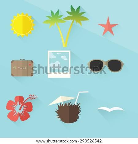 travel icon set. flat design - stock vector