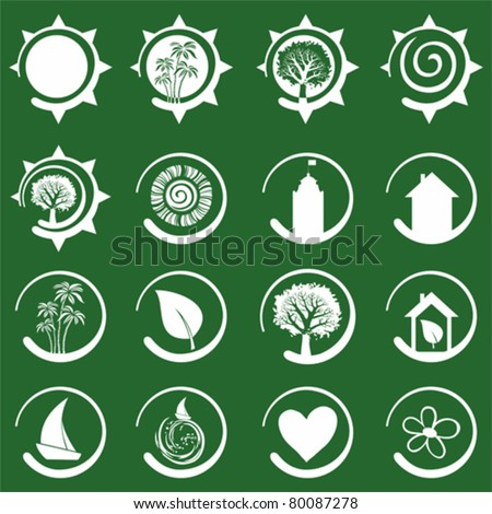 travel icon set isolated on Green background. Vector illustration - stock vector
