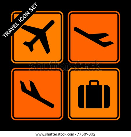 travel icon set on black background - stock vector