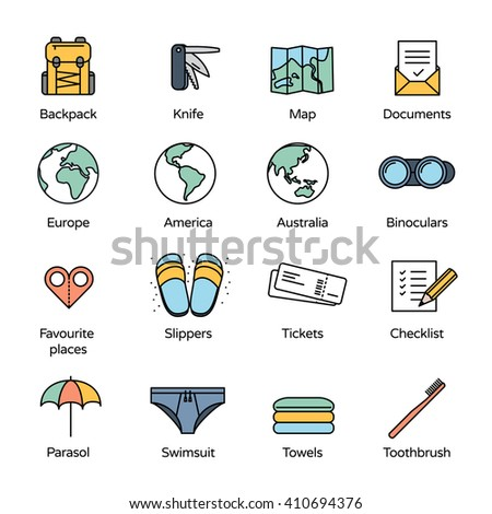 Travel Icons Collection 2. Basic accessories for traveler and adventurer in line icons style.  - stock vector