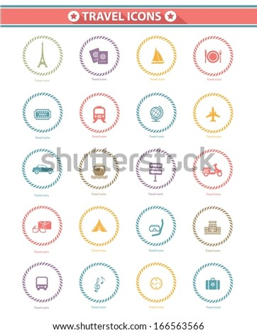 Travel icons,Colorful version,White background,vector - stock vector