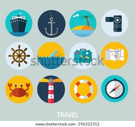 Travel icons, flat design of icons for web and mobile - stock vector