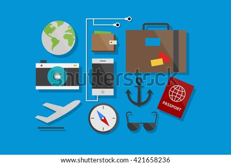 Travel Icons Flat Design Vector Illustration Element and Icons Set - stock vector