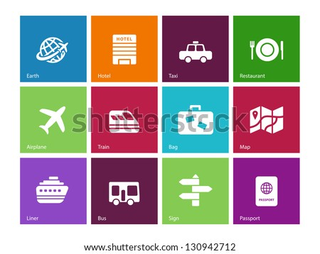 Travel icons on color background. Vector illustration. - stock vector