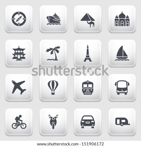 Travel icons on gray background. - stock vector