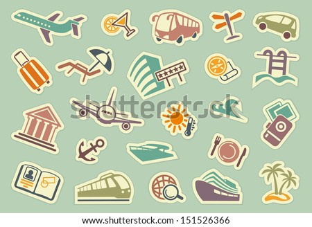 Travel icons on stickers - stock vector