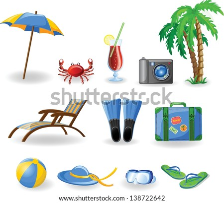 Travel icons, palm, ball, lounge, umbrella, flip-flops, flippers and suitcase