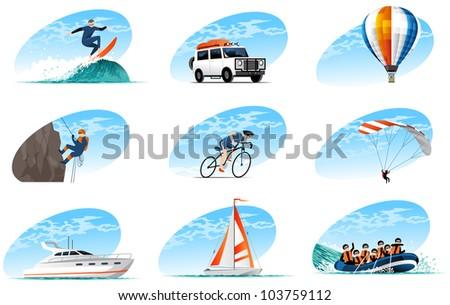 travel icons set (#4) - stock vector