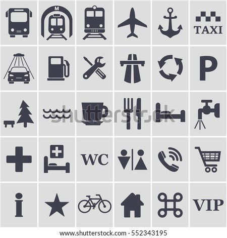 Travel Icons Set Different Black Travel Stock Vector 552343195