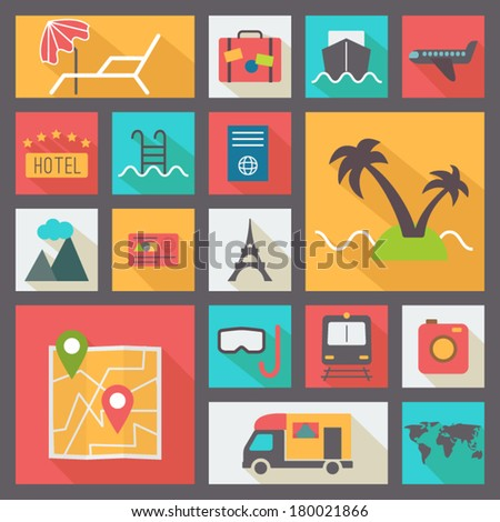 Travel icons set, flat design vector - stock vector