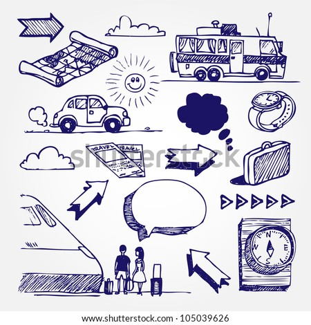 Travel icons set. Hand drawn sketch illustration isolated on white background - stock vector