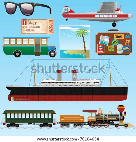Travel icons set. Old style (Vector Illustration for web design) - stock vector
