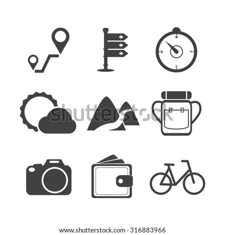Travel icons set on white background - stock vector