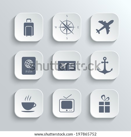 Travel icons set - vector white app buttons with plane compass suitcase anchor ticket passport coffee tv gift symbols - stock vector